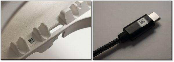 Componente de plástico y cable USB con marcado de trazabilidad